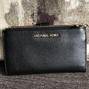 Michael Kors double zip black wallet gold accent